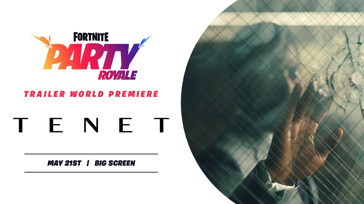 Grab a front row seat in Party Royale for a world premiere! Catch the latest trailer for Christopher Nolan's @TENETFilm at the top of every hour on the big screen starting at 8 PM ET. ʇnO sunᴚ ǝɯı⊥ ǝɹoɟǝq ʇı ǝǝS