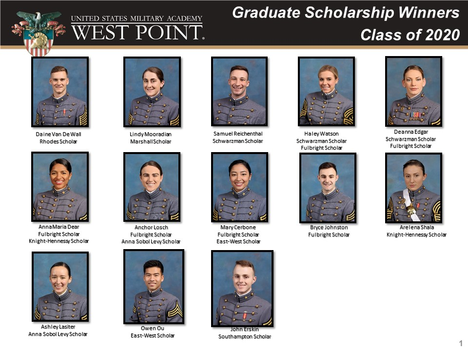 #USMA2020 graduates won scholarships such as Rhodes, Schwarzman, Marshall, Fulbright, Knight-Hennessy, the National Science Foundation, and Lincoln Labs. Please join me in congratulating these outstanding cadets and their achievements. @WestPoint_USMA @WestPointParent @WPAOG