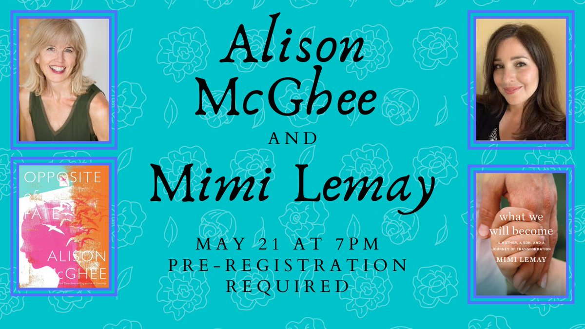 Join us TONIGHT for a conversation between the great @alisonmcghee and @mimislemay!