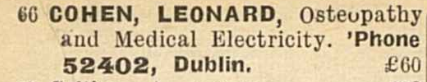 I shouldn't get amused by people with famous names, but this practitioner on Stephens Green in 1943 did anyway