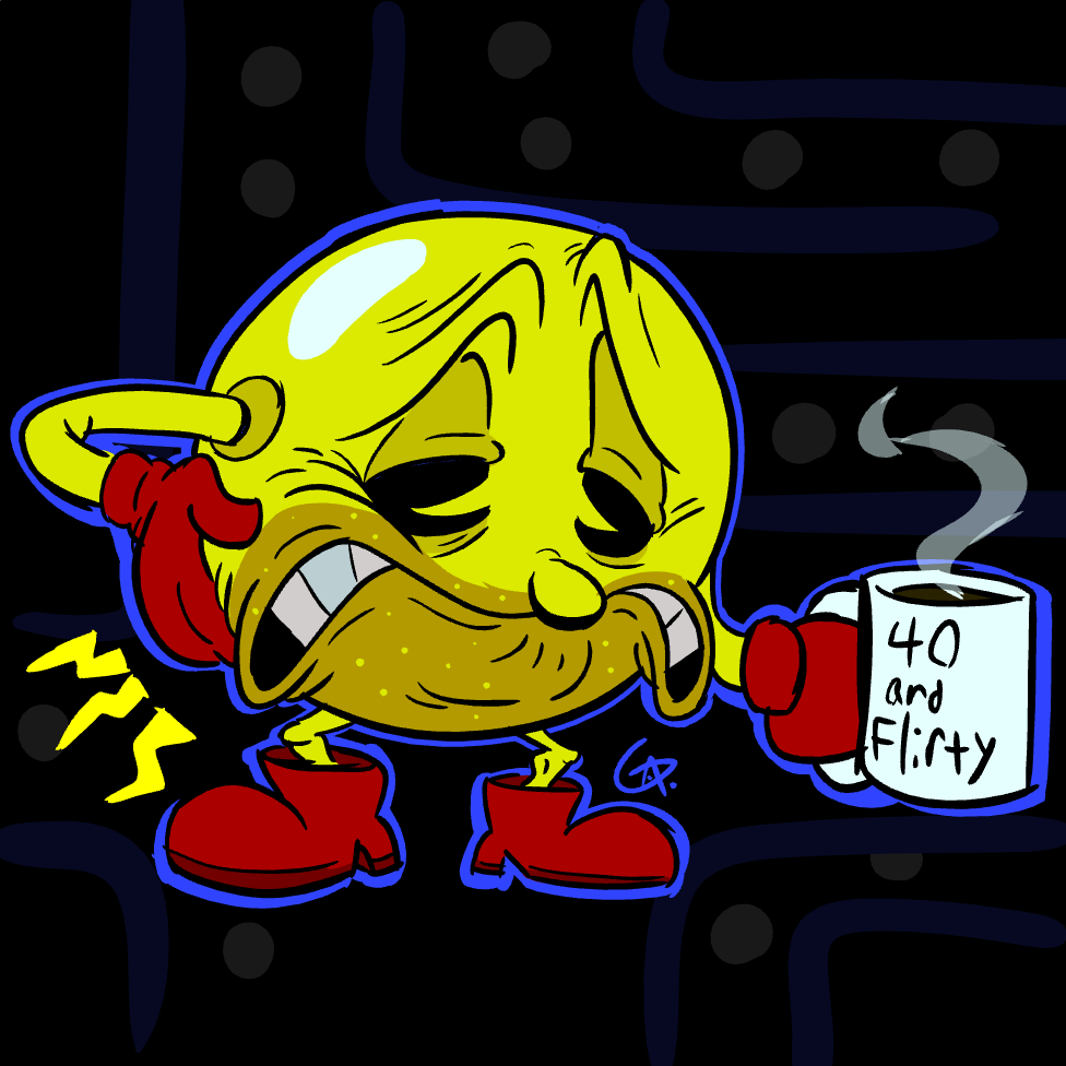 "Pac man? More like ""Ow, my bac, man!"" Happy 4oth anniversary to my favorite yellow sphere! #pacman40th #PacMan<br>http://pic.twitter.com/KEm9ivXKKQ"