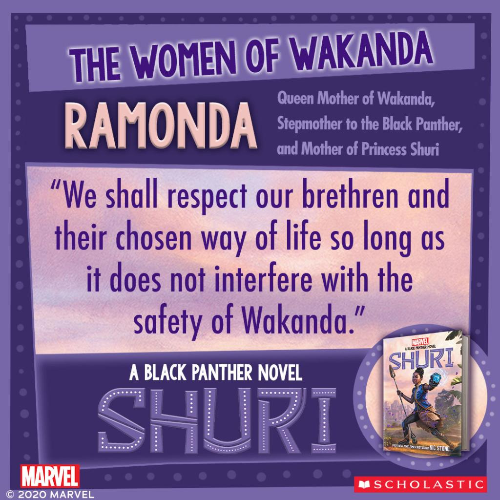 """Queen of Wakanda. Queen of our hearts. 👑 Nic Stone (@getnicced)'s """"Shuri,"""" a new original Black Panther novel, is available now from @Scholastic! #WomenOfWakanda https://t.co/b9MFBy1lIp"""