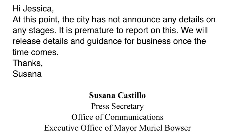 I asked @MayorBowser's office how DC is differentiating what's a restaurant and what's a bar in the reopening...