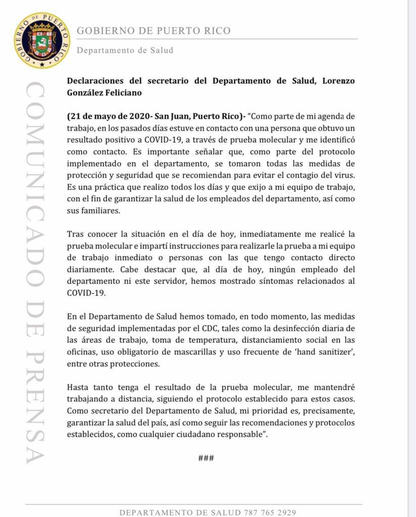 Replying to @DeptSaludPR: Declaraciones del secretario de Salud, Lorenzo González.