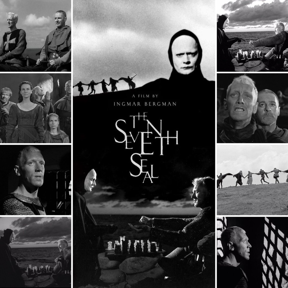 The Seventh Seal is filled with intelligent dialogue of both kinds, realistic and allegorical. The film talks about faith, religion, death, love and existence of God. Bergman makes Death a walking, talking character which provides for some very interesting conversations. #moviespic.twitter.com/VqC6zA2qWr