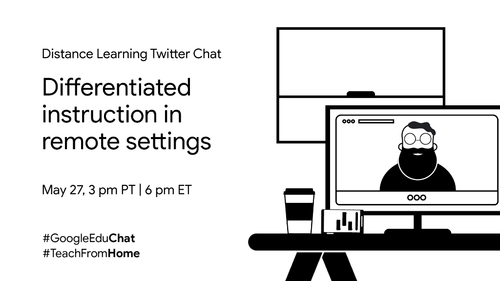 You're invited ✉️ to a #GoogleEduChat! Date: Wednesday, 5/27 Time: 3pm PT/6pm ET Who: Educators navigating #DistanceLearning Theme: Remote Differentiated Instruction Moderators: @askatechnogirl & @apsitnatasha Looking forward to seeing you there! #TeachFromHome