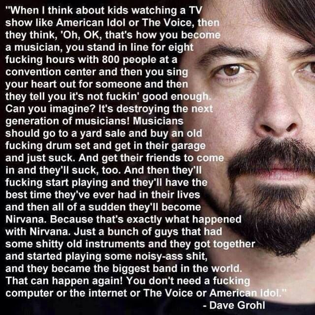 My son is in the basement doing his weekly drum lessons. He's, let's say, not 'good'. But I'm printing this out and putting it up behind his kit. Because this is how every kid should feel. He's a suburban DC kid like #DaveGrohl and, sure, he probably won't be the same but  <br>http://pic.twitter.com/e1u55CPJGX