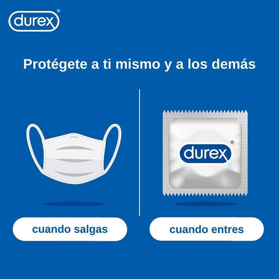 Durex promoviendo el uso de mascarillas y preservativos de su marca. Fuente: Twitter