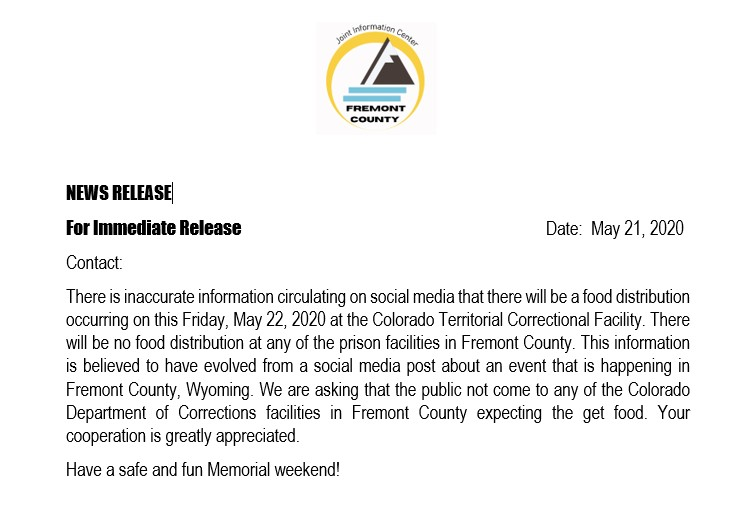 There is inaccurate information circulating on social media that there will be a food distribution occurring on this Friday, May 22, 2020 at the Colorado Territorial Correctional Facility. There will be no food distribution at any of the prison facilities in Fremont County. https://t.co/n7vi671pdU