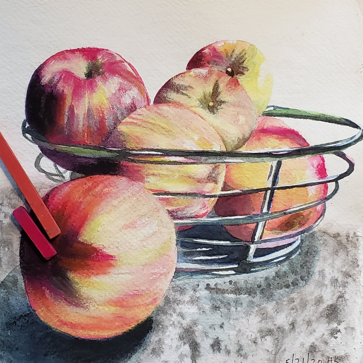 Chase's Honeycrisp Apples 5.21.20 Still life Watercolor & Pastel #watercolor  #watercolorpainting pic.twitter.com/pBtakas8qM
