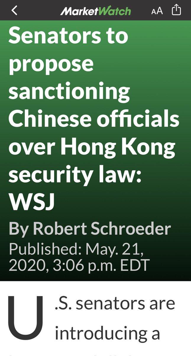 美国国会两党推出新的法案,制裁所有参与制定和执行《香港安全法》的中共官员!  无论是个人,团体还是公司将被禁止使用美国银行系统! https://t.co/sudR7p6H9U