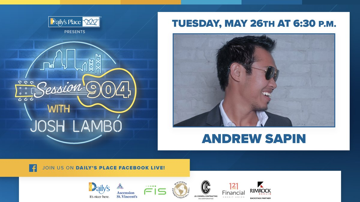 A little bit pop, a little bit soul...a whole lot of DUUUVAL! See @andrewsapin on the next #session904 with @JoshLambo this Tuesday, 5/26 at 6:30 PM!