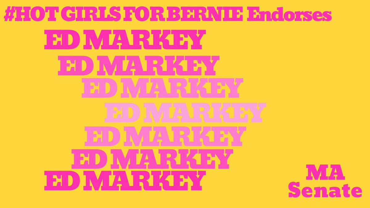 Hot Girls for Bernie officially endorses @EdMarkey for Senate. He's running against a moderate, we don't have time for moderates. Markey is hotter than Kennedy, vote Markey! You like the green new deal? He helped write the damn bill.