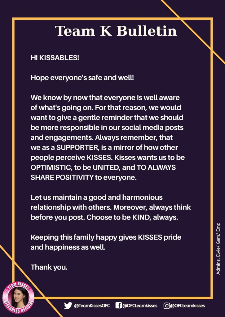 Reminder to all Kissables.  Remember who we represent. Choose to be kind, ALWAYS.  @KissesDelavin #KissesDelavin #Kissables<br>http://pic.twitter.com/dxkj2dnit0