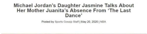 《最後之舞》為何沒出現喬丹前妻?女兒首度發聲,籃球之神並不完美!-Haters-黑特籃球NBA新聞影音圖片分享社區