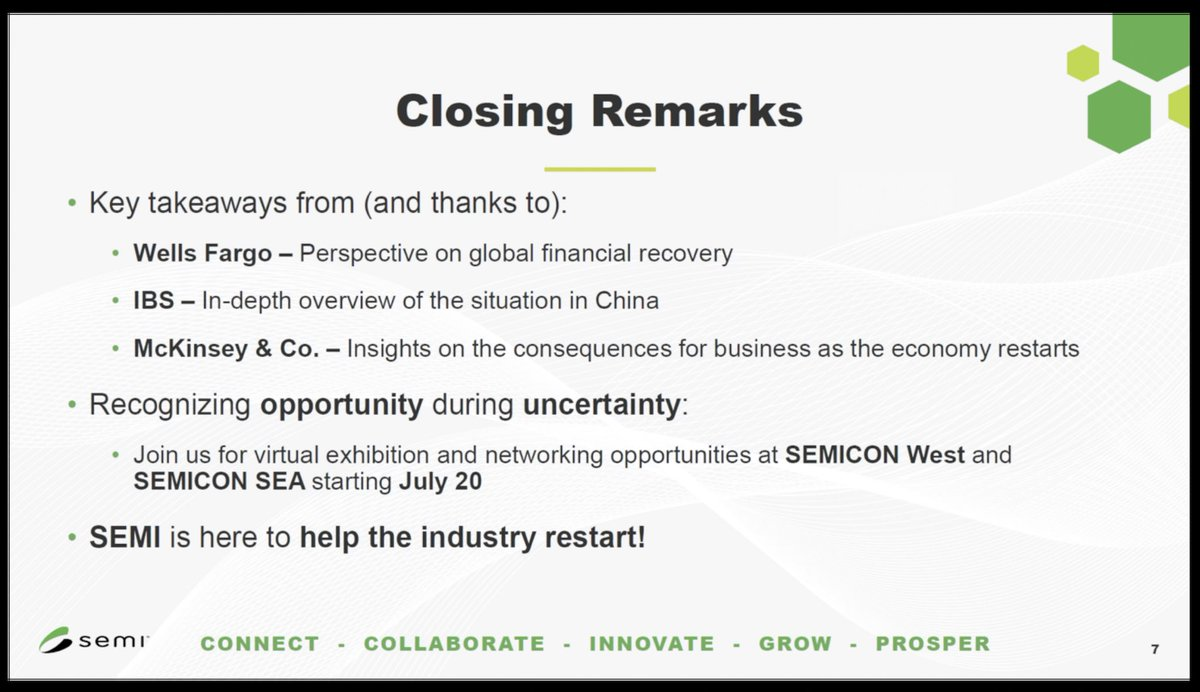 Nice webinar wrap by @SEMIconex CEO Ajit Manocha who expressed optimism for the way in which the #semiconductor ecosystem will move forward, given new areas of growth and innovation, such as #smart #medtech, #datacenter & #contactless economy. Excellent speaker perspectives too. https://t.co/xRpGC70oPt