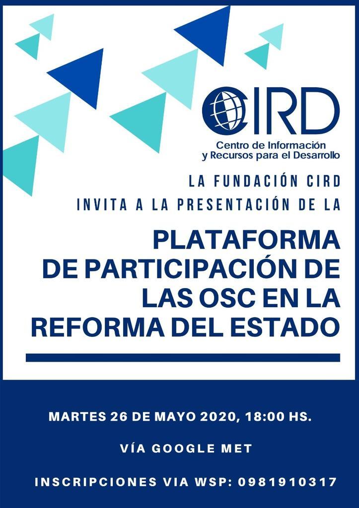 Invitadas todas las OSC interesadas en participar de esta oportunidad histórica #reformadelestado #Estado https://t.co/AMZbLG0BpL