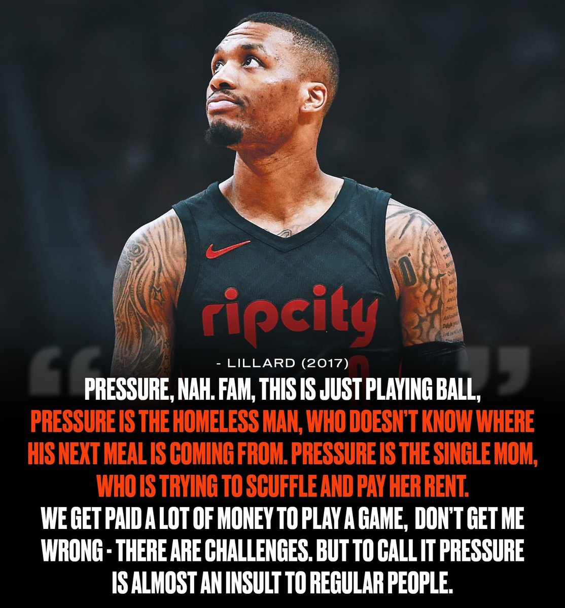 Damian Lillard's quote about pressure will always be amazing 🙏  (via Sporting News) https://t.co/jLH5mwsgBy