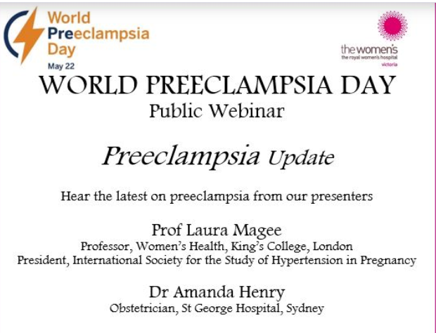 Today is #WorldPreeclampsiaDay! Join tonights free webinar by @thewomens and @SSMRF_official to hear the latest updates in #preeclampsia from experts in the field including @georgeinstitutes Amanda Henry! Register here: bit.ly/2znE6CD