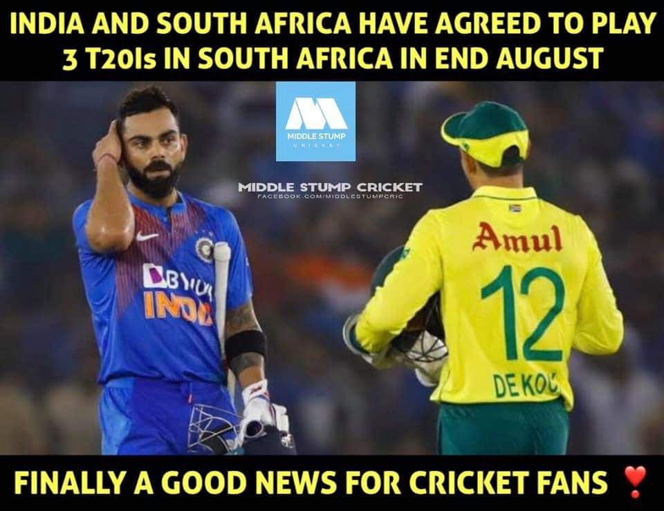 Finally!! Got the news. Missed cricket a lot..Now after hearing this news Im super excited. Need 2 T20i hundreds from Kohli 💯 #INDvsSA #Cricket #ViratKohli