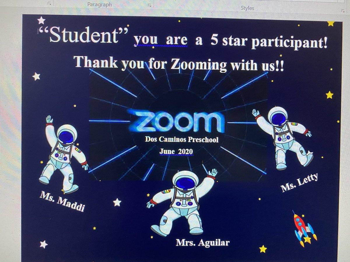 DC preschool team created super cute Zoom certificates to add to student belongings @PVSDCamarillo @PVSDSTUSERV  @DosCaminosPVSD<br>http://pic.twitter.com/RWf7CrEeFH
