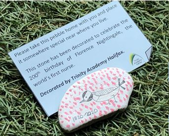 RT @CHFTNHS Little decorated pebbles of kindness have been left around CRH by our lovely supporters at @TrinityAcademyH.  Their teaching and support staff have been working throughout to keep the Academy open for keyworkers' children. 💙