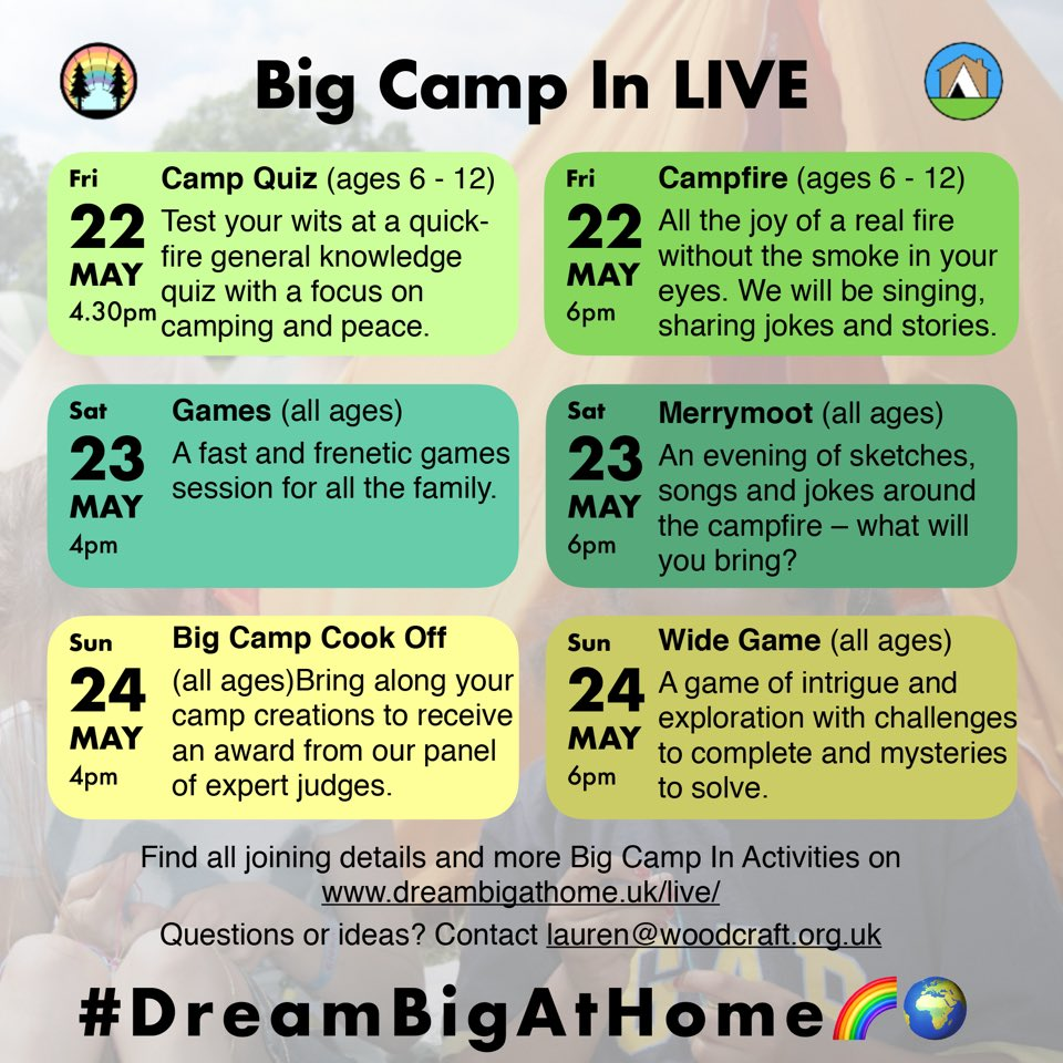Morning campers! A reminder of the #BigCampIN schedule for this weekend. Please share with us your camping space and any delicious camp meals you make before Sunday's Cook Off award ceremony! Joining details for sessions can be found at dreambigathome.uk/live