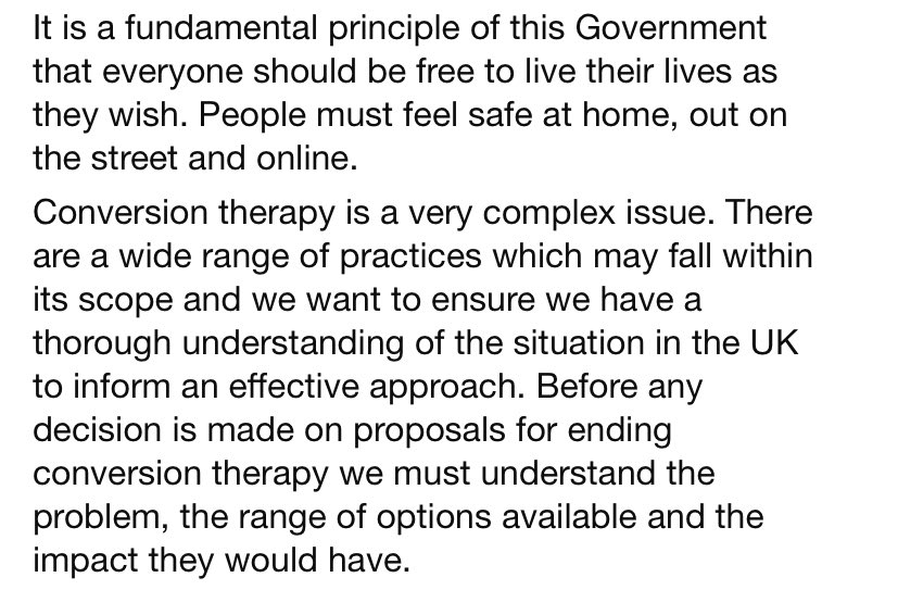 The government response to the conversion therapy ban petition is so underwhelming. No commitment to a timeline. No sense of urgency. Please sign the petition. If we reach 100,000 signatures MPs can debate and hold the government to account petition.parliament.uk/petitions/3009…