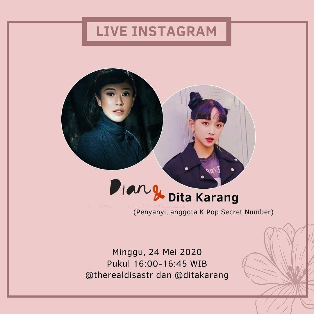 Hari Minggu, 24 Mei 2020 jam 16:00WIB, saya akan ngobrol-ngobrol santai  secara live instagram dengan the one and only @ditakarang, Indonesian first K Pop singer. Membahas banyak hal dari perjalanan karir sampai cerita di balik layar tentang debut-nya bersama Secret Number. https://t.co/QNsqlMgyj6