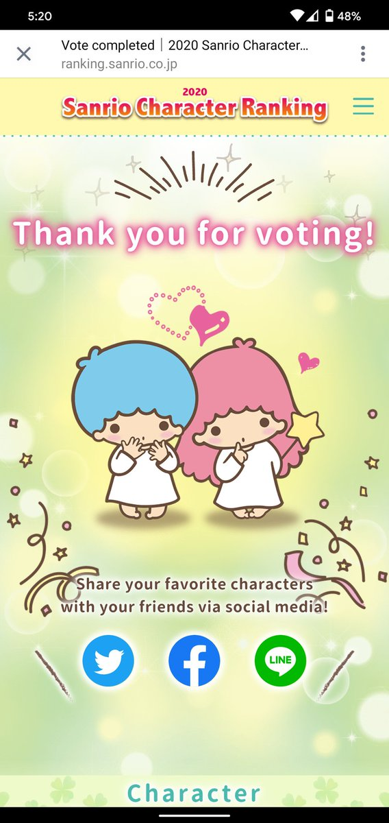 You know I vote for the real king and queen. #littletwinstars #lts #sanrio #2020characterranking #sanriocharacterrankingpic.twitter.com/NAOZpnBYFJ