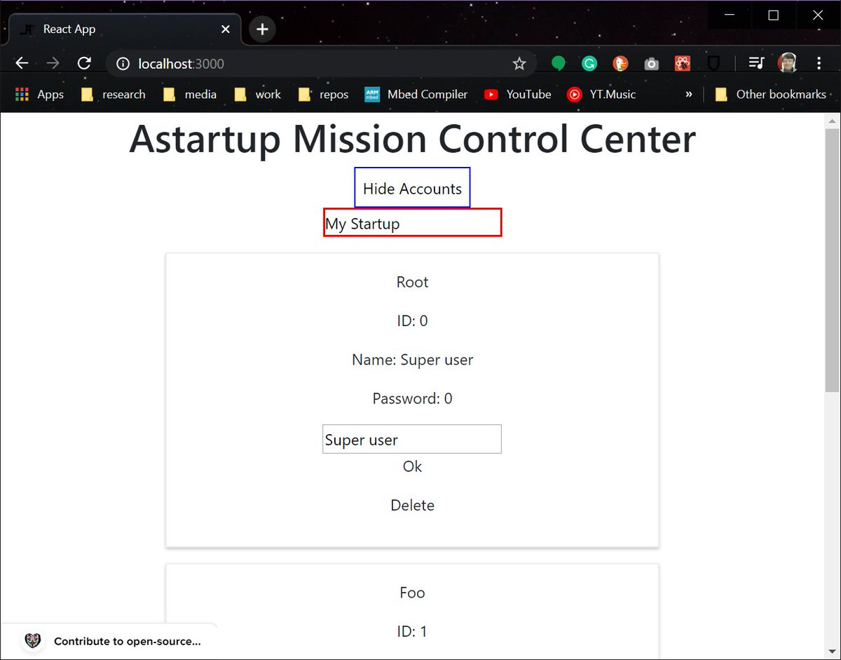 #100DaysOfCode #100DaysOfReact #100DaysOfAstartup #Day3 Today I programmed a simple Account manager that displays a List of Account objects and has a username and password validator that checks if the input is correct. https://github.com/AStarStartup/AstartupToolkit/issues/25…pic.twitter.com/cPojMUEnxD