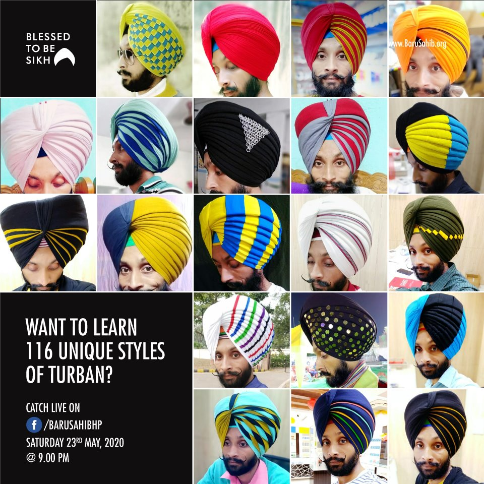 #MustWatch #LiveTurbanClasses  Want to learn 116 unique styles of turban?  Catch Turbanator Rajkamal Jeet Singh LIVE on our Facebook Page Saturday 23rd May, 2020 @ 9.00 pm onwards.  https://t.co/ArlStMc7ug https://t.co/ccL3pLPXDA