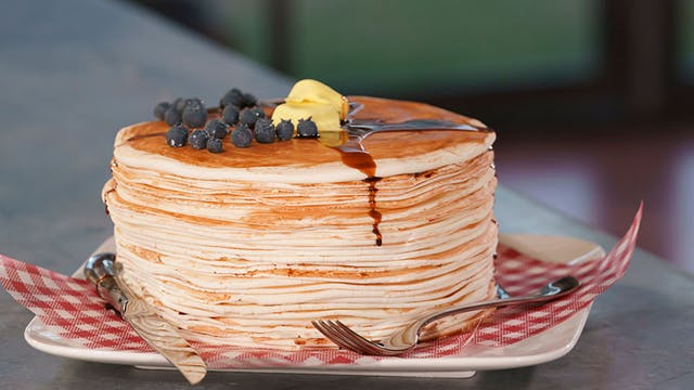 Pancake stack illusion cake - morning #breakfast sorted! Ingredients 780g cake flour 2 tsp baking powder 1 tsp bicarb soda 1 tsp pink sea salt flakes 680g unsalted butter, room temperature  foodies #Lifestyle #Food (Lifestyle Food)pic.twitter.com/4ud0o0x5Pv