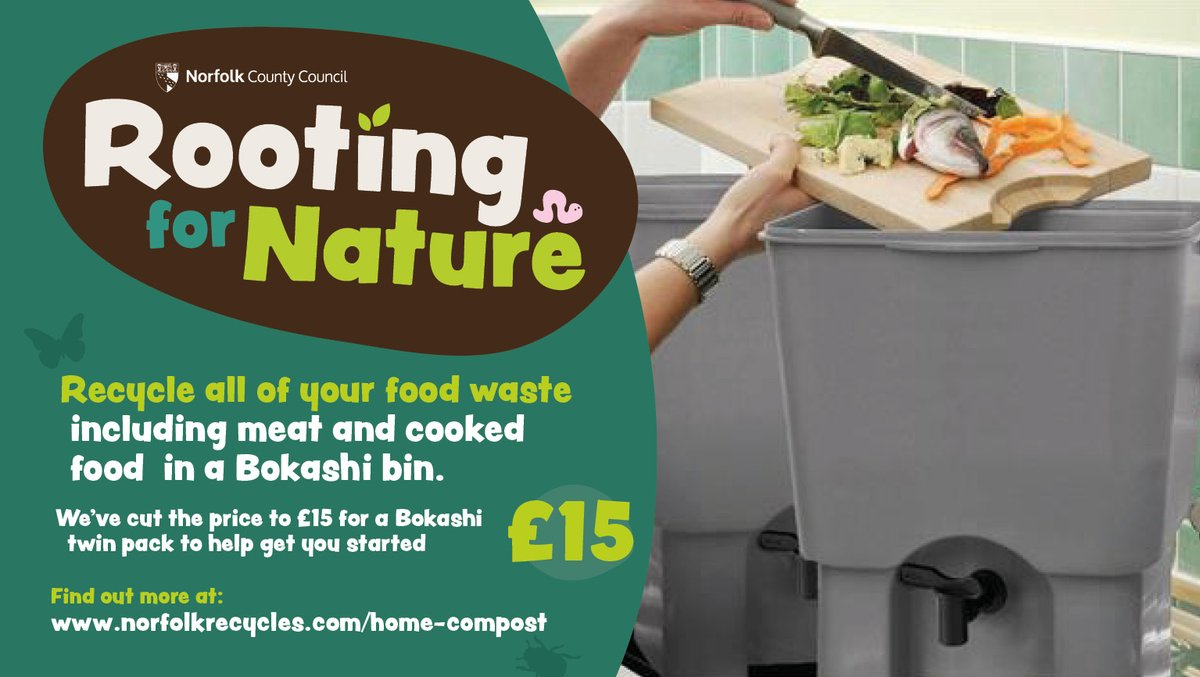 Have you heard of a Bokashi bin? These nifty containers let you compost all your food waste including meat, fish, dairy & other organic material. Twin packs are now back in stock for a discounted £15! ♻ Snap them up while stocks last ⏬ norfolkrecycles.com/home-compost/
