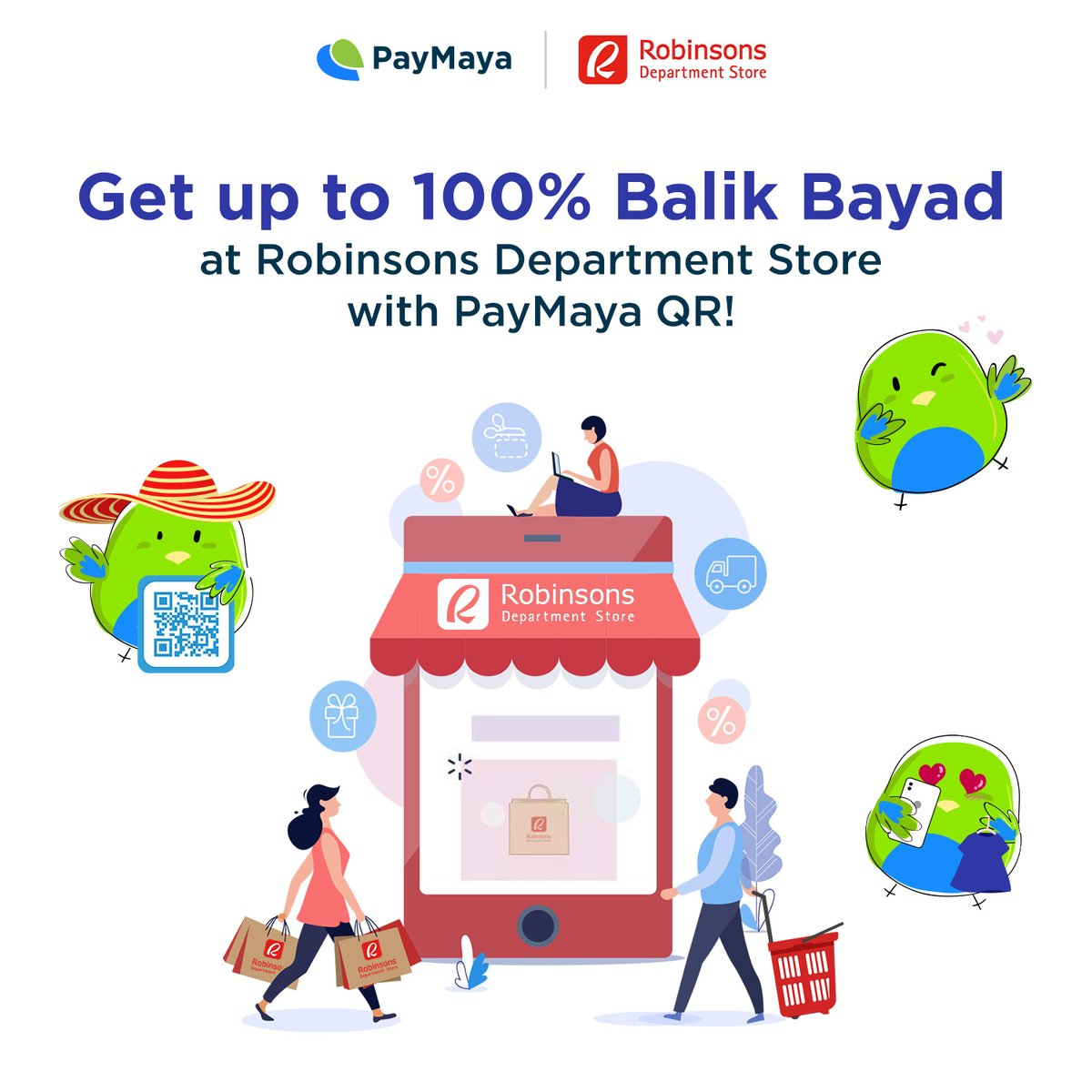 Shop from select Robinsons Department Store branches online and get up to 100% Balik Bayad* when you #ScanToPay with PayMaya QR!   *Capped at P500. Find out how to order online  👉🏻 https://t.co/csSyHAUkLn https://t.co/iJcnK0kdzh