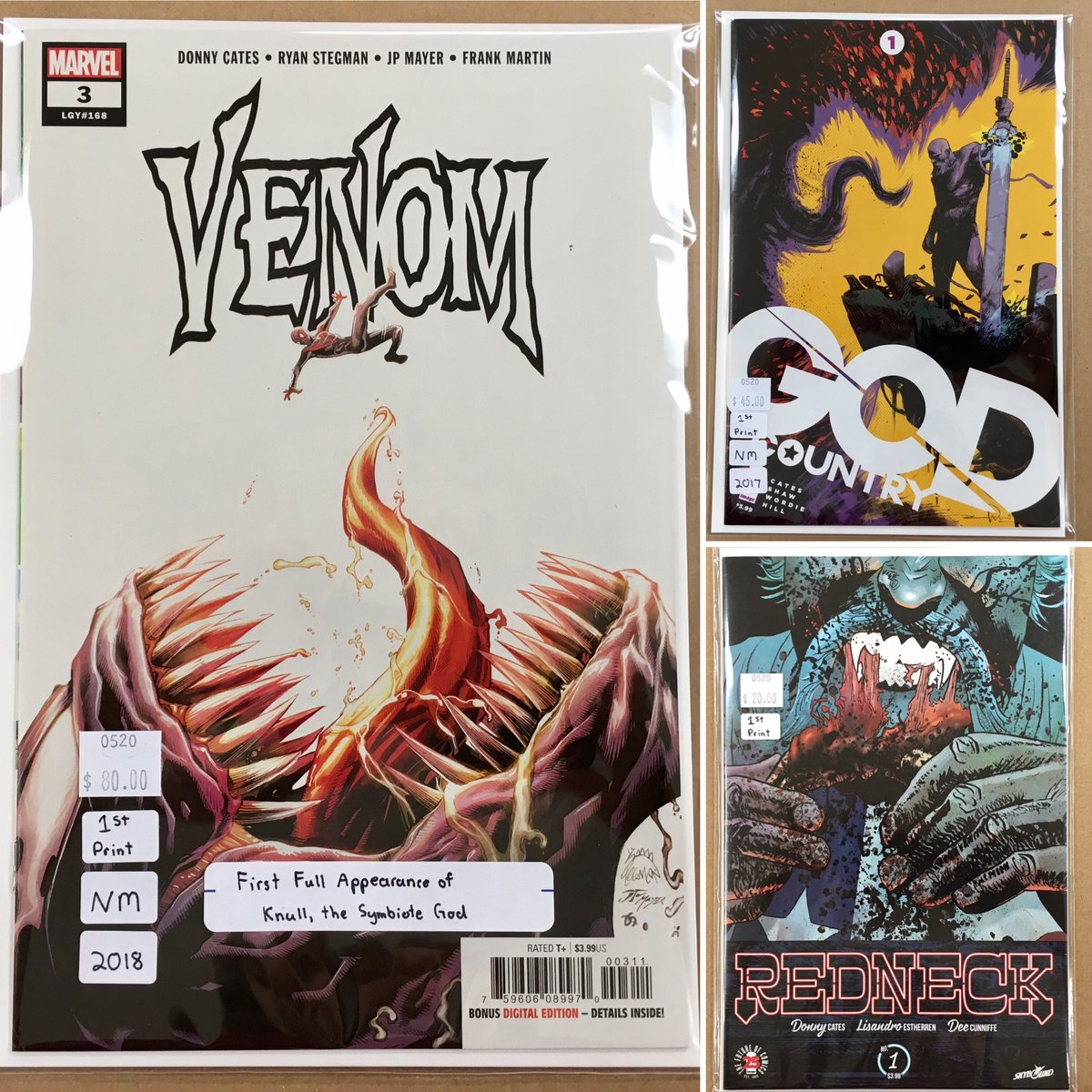 Added some #DonnyCates Keys to the case.  #Venom 3, the #FirstAppearance of Knull the Symbiote God.  And the #FirstIssue of #GodCountry & #Redneck.  All #FirstPrintings. ... #BackIssues #ModernAge #Marvel #ImageComics #Comics #FirstPrint #KeyIssue #LasVegas #getyourfixpic.twitter.com/9LorjbMYcx