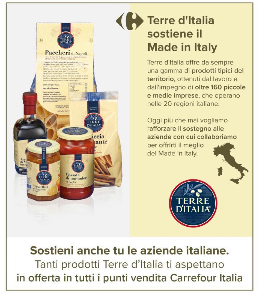 Con la linea Terre d'Italia, insieme a 160 piccole medie imprese italiane, vogliamo tramandare e garantire la #storia del prodotto, dei suoi #produttori e della #tradizione alimentare italiana. #azioniconcrete per valorizzare il nostro #MadeInItaly. #saporiItaliani #lItaliafabene https://t.co/hFluIVjWqb