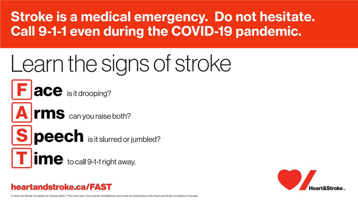 Know the warning signs of a stroke. Do not hesitate to call 9-1-1, even during COVID-19.<br>http://pic.twitter.com/FPO001FQoU