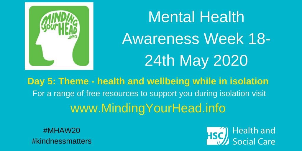 #MHAW20 Day 5: Visit MindingYourHead.info for a range of free resources including; Psychological First Aid E-learning, healthcare Apps, helplines and resources and info on services #kindnessMatters @healthdpt @NHSCTrust @BelfastTrust @WesternHSCTrust @SouthernHSCT @setrust