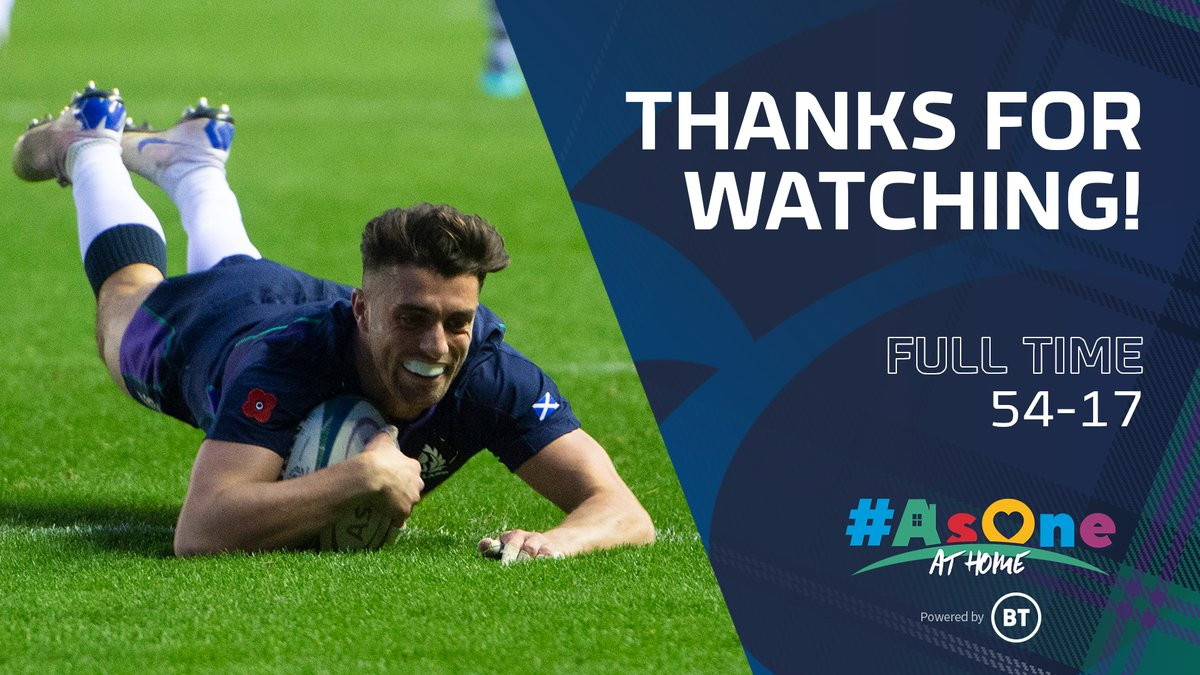 Scotland score eight tries to secure the win against Fiji 🙌 Thanks for watching along with us #AsOneAtHome tonight! Next Friday we're going back to our title-winning year of 1999 🏆