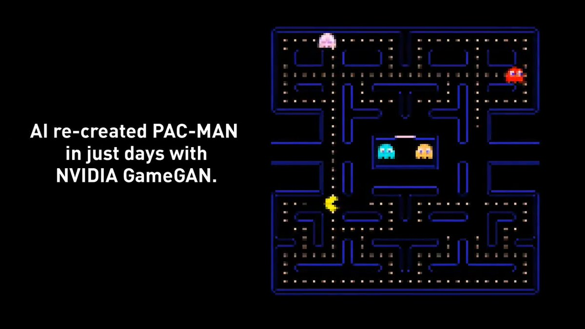 Trained on 50,000 episodes of PAC-MAN, a new #AI model created by NVIDIA Research called GameGAN re-created the game environment in just days. Celebrate the #pacman40th anniversary and see how GameGAN puts an AI spin on this classic game. https://t.co/zOoioy0MU9 @BandaiNamcoUS https://t.co/nyrXp9xhdA