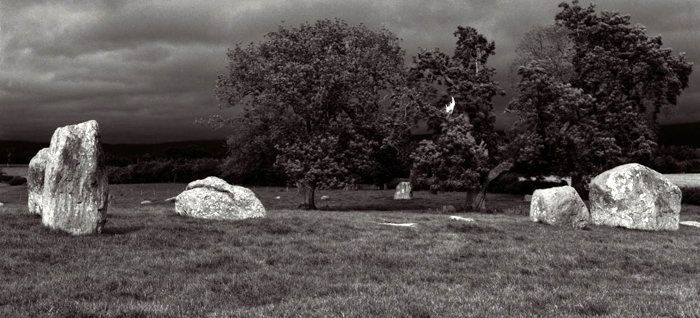 Beautiful light on the stones at Long Meg despite the dark and stormy day. Peter Greenhalfs silver gelatin photograph. #longmeg #ancientsites #silvergelatin
