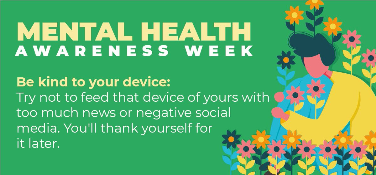 The final #kindness tip from #kooth for #MentalHealthAwarenessWeek is all about taking time out from our devices. There's so much daunting information out there at our fingertips so let's try and do other things that make us happy away from our devices 🙂 https://t.co/0rLljvfPU5