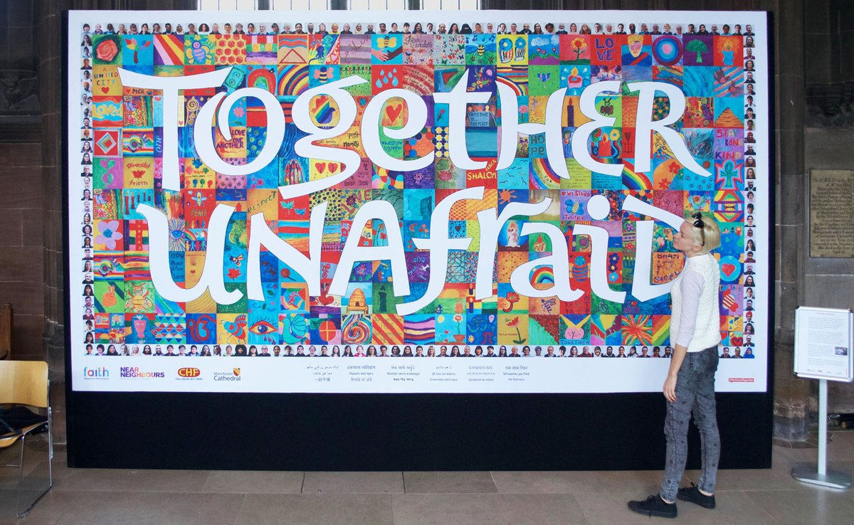 @AndyBurnhamGM So many memories embedded in this artwork by Mancunians. Painted in a mosque, a synagogue, a gurdwara, and our Cathedral in the months following the atrocity. The message for our future still relevant. @hopenothate @FN4M @nearneighbours @ManCathedral #WeStandTogether https://t.co/k2EClicFCp