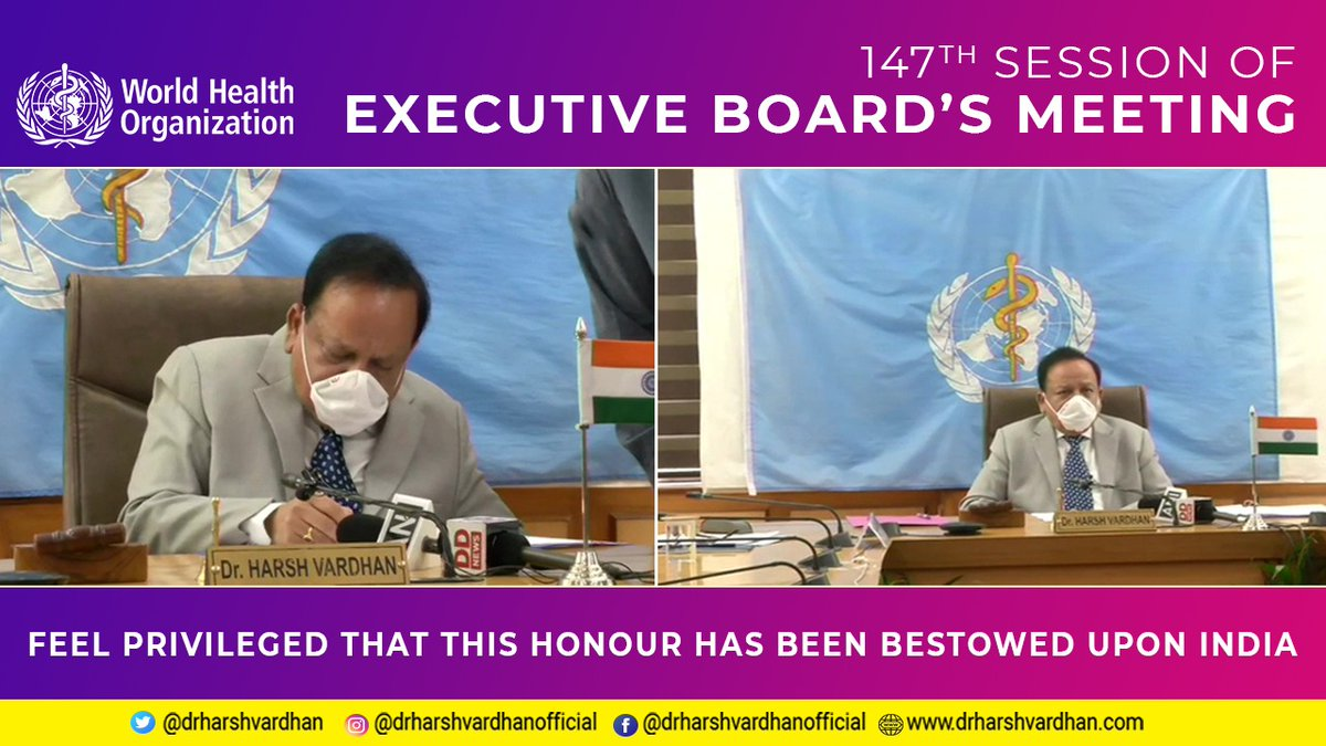 I feel privileged to take charge as Chairman of the World Health Organisation's Executive Board at its 147th session held virtually.I believe that health is central to economic performance and to enhancing human capabilities. @WHO @PMOIndia @MEAIndia @MoHFW_INDIA #EB147 #COVID19 https://t.co/pBn7LrE4Yh