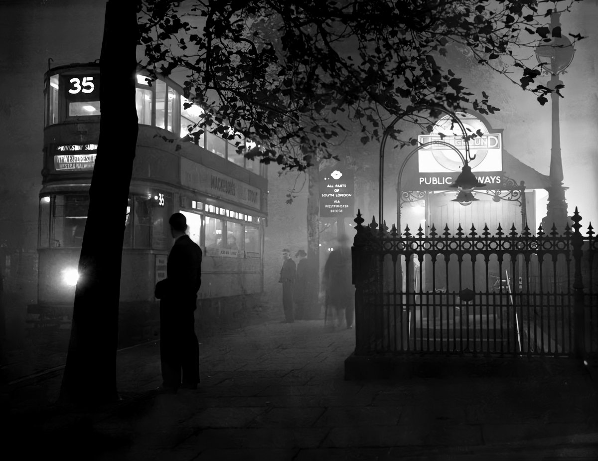 A beautiful, atmospheric shot through the London fog, on the Thames Embankment in 1938. A shadow was falling across Europe and there was something dreadful hanging in the air - and it wasnt just nitrogen dioxide...