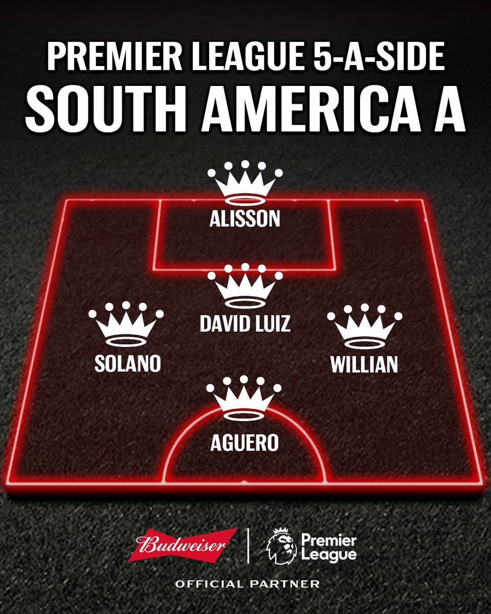Three @premierleague 5-a-side teams made up of players from South America. You can only pick one. #BeAKing
