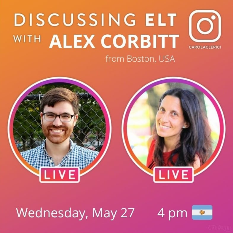 @Alex_Corbitt is joining us to talk about #literacy #gaming #climatechange #identity and a lot more to inspire our ELT lessons. See you Wednesday May 27 at 4 pm (Argentina time) My Instagram is @CarolaClerici https://t.co/M5XkjbW5oX