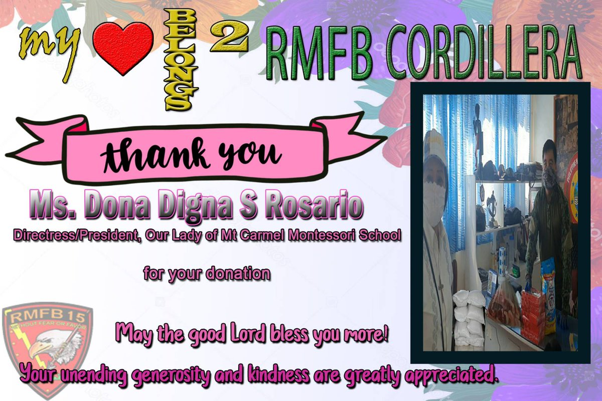 Saying Thank You creates LOVE-Anonymous. Thank You Ma'am Dona Digna Salvador Rosario,Our Lady of Mt.Carmel Montessori School.Your unending generosity and kindness are greatly appreciated. #thanksMaam. @MayamesJr https://t.co/Xr2WYPDxsB