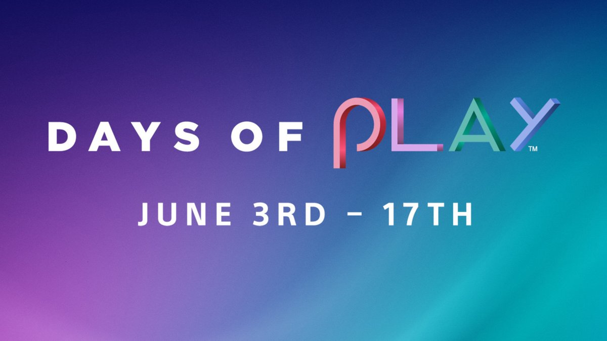 Days of Play returns June 3 with big savings on games for PS4 and PS VR, PS Plus and PS Now subscriptions, and more: https://t.co/aQqO6IyJKt https://t.co/DYwOuq8I4W